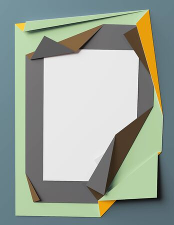 Folded colored paper. Multi layer effect. Template for graphic design. 3D illustration Stock Photo