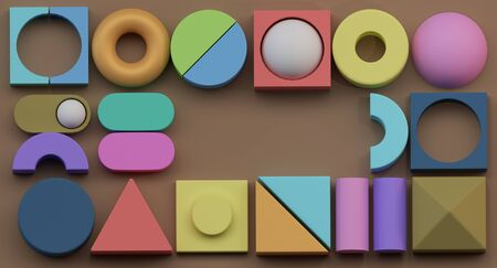 Baby fun background of different 3d spheres and color. 3D illustration Stock Photo