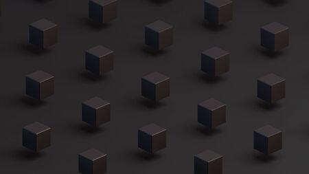 Black squares on a black background. Isometric view. Minimal style. 3D illustration Stock Photo