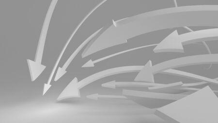 Flying white 3d arrows. 3D illustration