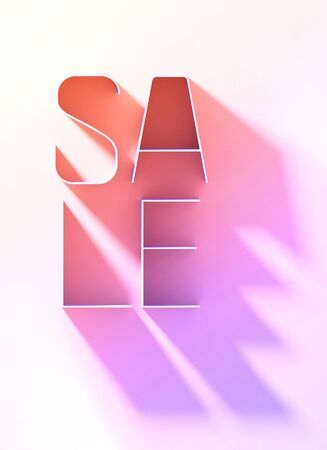 Sale poster template. Letters with long shadow on a white background. 3d Illustration Stock Photo