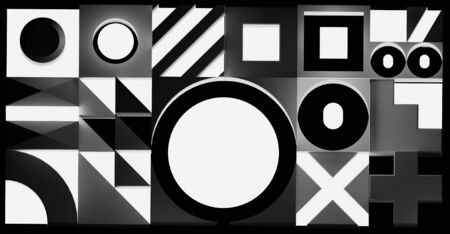 Composition of different illumination geometric shapes. Black and white background. 3D illustration