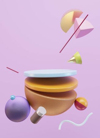 Minimalistic scene of geometric shapes. Flying shapes on pink background. Place for your product. 3d Illustration