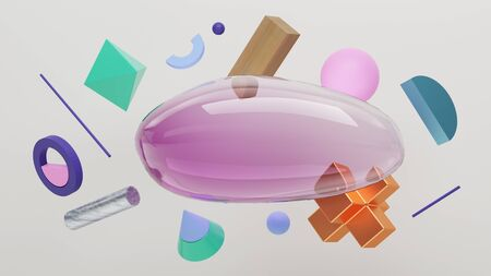 Scene of bubble and solid primitive geometric shapes. Flying shapes on white background. 3d Illustration