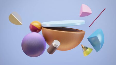 Minimalistic scene of geometric shapes. Flying shapes on blue background. Place for your product. 3d Illustration