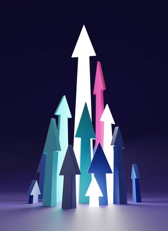 Color arrows up on dark backdrop. 3D illustration on the topic investment and teamwork
