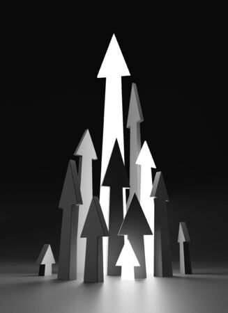 Arrows up on black backdrop. 3D illustration on the topic investment and teamwork Stock Photo