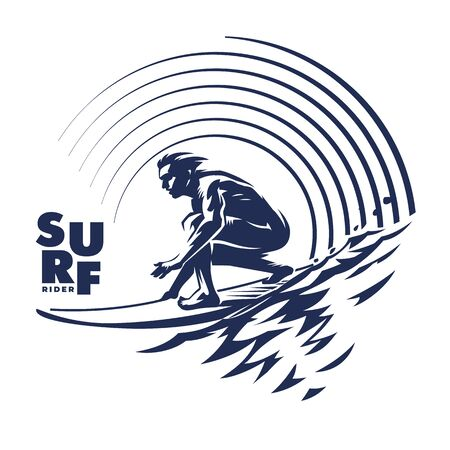 Surfer on ocean wave. Vector retro emblem. Black and white round composition on the topic wild waves