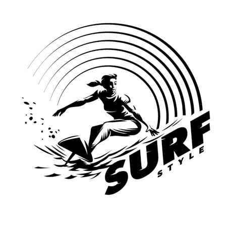 Surfer and Wave. Womens surfing emblem. Black and white round composition on the topic beach Stock Photo