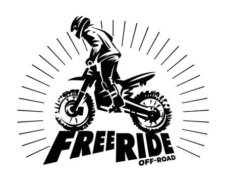 Biker silhouette on the hill. Start ride. Monochrome illustration Stock Photo