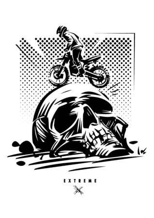 Off-Road extreme adventure. Brave motorcycle racer. Monochrome vector illustration Stock Photo