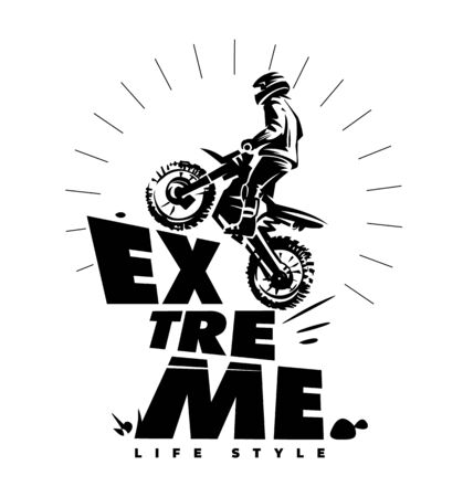 Moto extreme trip. Overcoming obstacles. Monochrome vector illustration with lettering Stock Photo