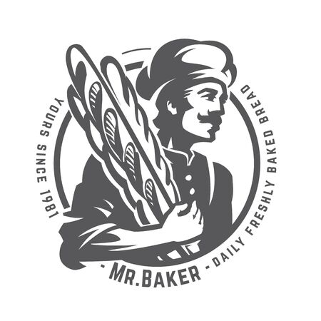 Vintage illustration of a baker with french baguette. Round monochrome vector insignia. Daily freshly baked bread Stok Fotoğraf