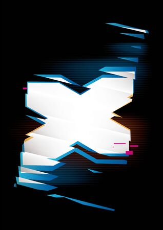Simple glowing shape with refraction effect on a black background. Place for text or image. Dynamic abstract vector composition Stock Photo