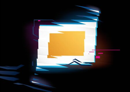 Glowing rectangle frame on black background with refraction effect. Distorted form. Vector shape for text or image