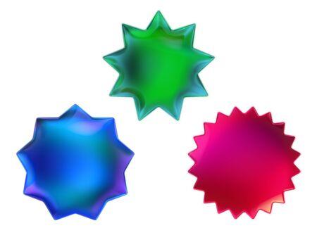 Set of Iridescent shapes Stock Photo