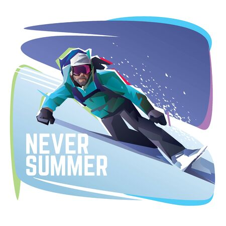 The snowboarder slides down a mountain Illustration