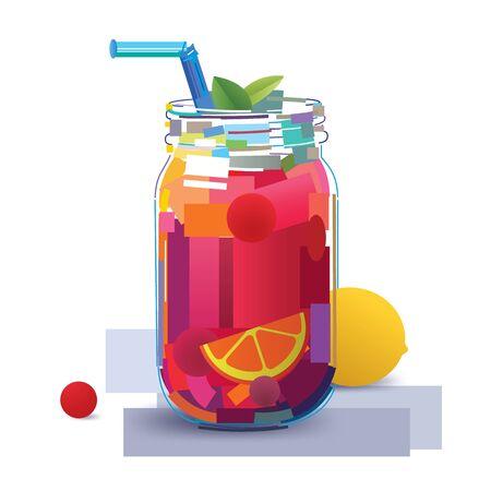 Juicy fruit coctail Illustration