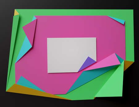 Folded colored paper on the dark background