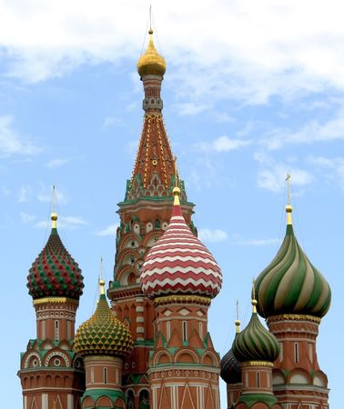 Bright multi-coloured domes of an orthodox temple