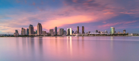 san diego: San Diego Cityscape over the pacific ocean Stock Photo