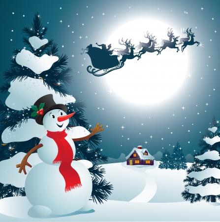 papa noel en trineo: Muñeco de nieve Vectores