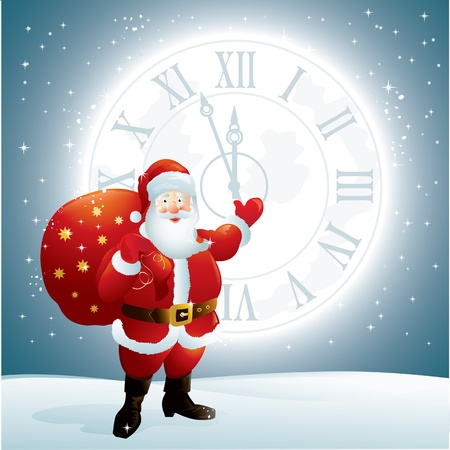 Santa Claus pointing to a clock face on the moon Stock Vector - 16623578