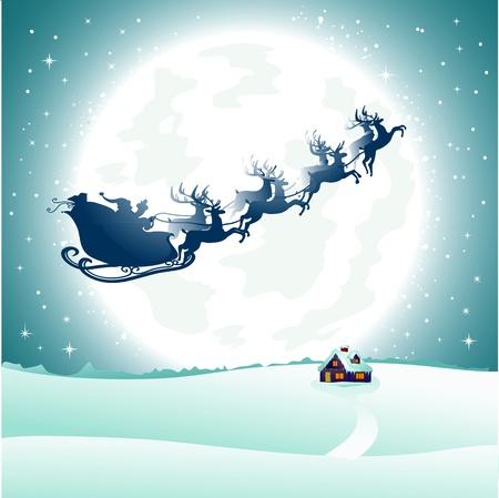 santa sleigh: Flying Santa Illustration