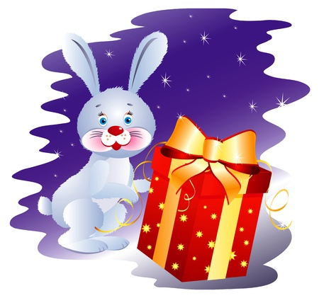 Rabbit with Gift Stock Vector - 16623573
