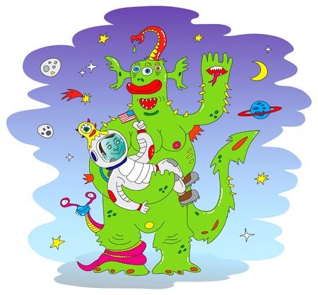 booster: Verde monstruo de Alien Vectores