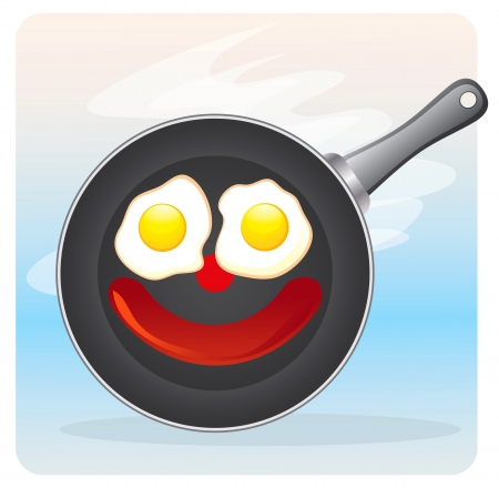 egg yolk: Frying pan with fried eggs