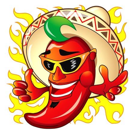 mexican sombrero: Illustrazione del fumetto Peper rosso caldo Vettoriali