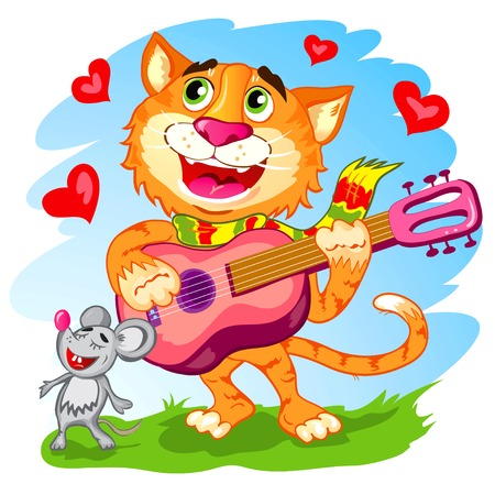 Illustration of the funny singing cat with guitar Vector