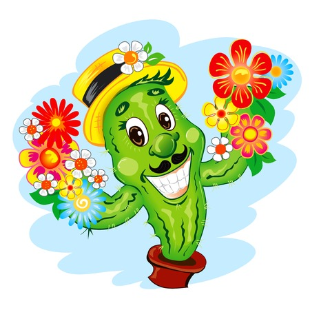 Illustration of the cartoon  Cactus Character  with flowers