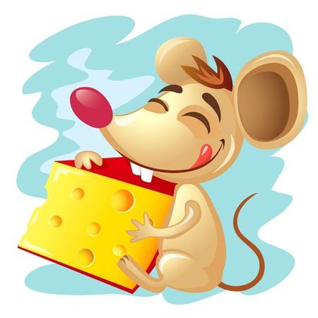 Illustration of the cartoon mouse holding a wedge of cheese