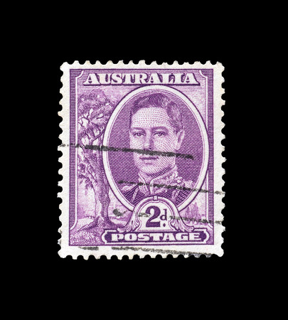 vi: AUSTRALIA - CIRCA 1942 : Postage stamp printed by Australia, that shows portrait of king George VI. Editorial