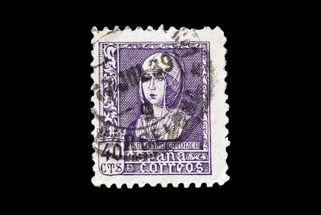 queen isabella: SPAIN - CIRCA 1936 : Postage stamp printed by Spain, that shows portrait of queen Isabella the Catholic.