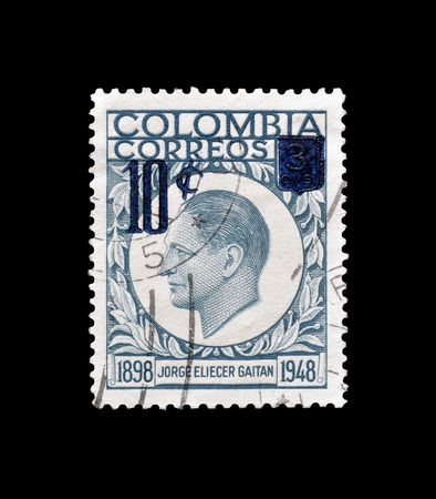 Colombia - circa 1959 : Postage stamp printed by Colombia, that shows portrait of Jorge Eliecer Gaitan.
