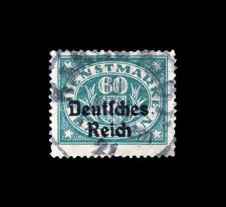 overprint: GERMANY - CIRCA 1924 : Postage stamp printed in Germany, that shows stamp overprinted with words Deutsches Reich.