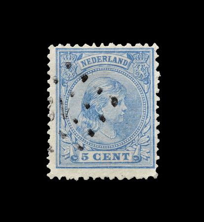 wilhelmina: NETHERLANDS- CIRCA 1892 : Postage stamp printed by Netherlands, that shows portrait of princess Wilhelmina. Editorial