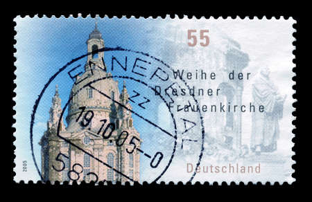 lutheran: GERMANY - CIRCA 2005 : Postage stamp printed by Germany, that show Lutheran church in Dresden. Editorial