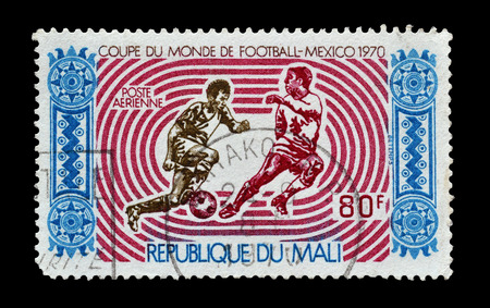 promotes: MALI - CIRCA 1970 : Postage stamp printed by Mali, that promotes World football cup in Mexico in 1970.