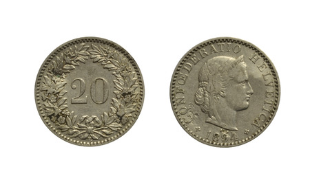 helvetica: Old Swiss coin 1894