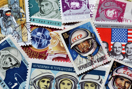 postage stamps: Astronauts on postage stamps