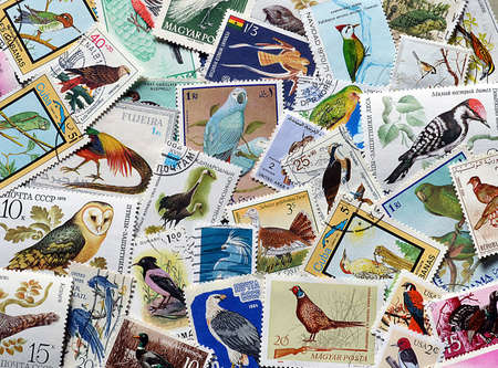 Birds on postage stamps