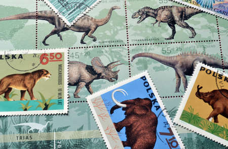 postage stamps: Dinosaurs on postage stamps Editorial