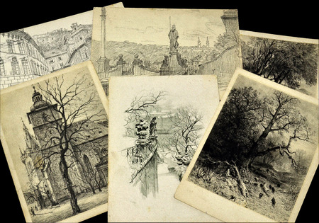 philately: Vintage black and white postcards Editorial