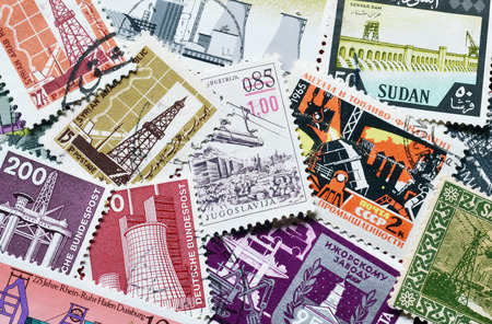 postage stamps: Industry on postage stamps Editorial