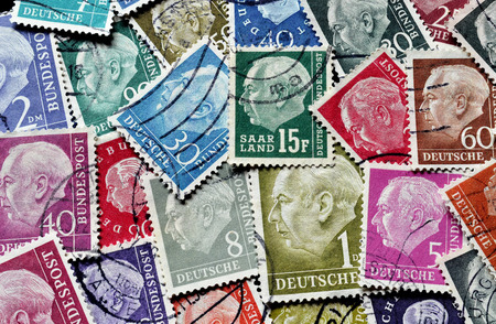theodor: GERMANY - CIRCA 1954-1959 : Postage stamps printed by Germany,  that show portraits of president Theodor Heuss.
