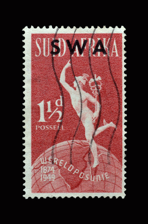 overprint: SOUTH AFRICA - CIRCA 1949 : Postage stamp printed by South Africa, that shows Mercury and Globe - 75th anniversary of Universal Postal Union. Editorial